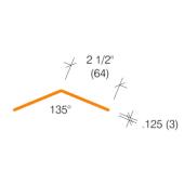 "2335.3 - 135° -  2-1/2"" Wings Clear Corner Guard"